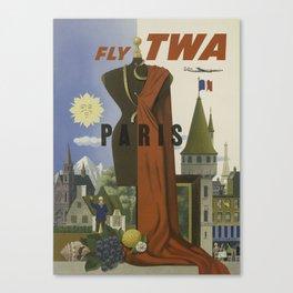 Vintage Travel Poster - Paris, Fly TWA - Vintage France Travel Poster Canvas Print
