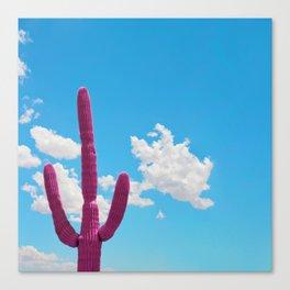 Pink Saguaro Against Blue Cloudy Sky Canvas Print
