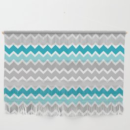 Turquoise Teal Blue Gray Chevron Wall Hanging