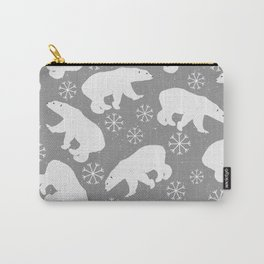 Polar bears and Snowflakes - gray Carry-All Pouch
