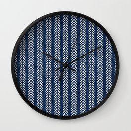 Mud cloth - Navy Arrowheads Wall Clock