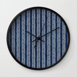 Mud cloth - Navy Arrowheads Wall Clock