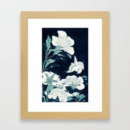 JAPANESE FLOWERS Midnight Blue Teal Framed Art Print