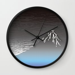 Hokusai Fuji in the Rainy Sky Wall Clock