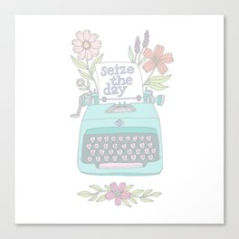 Seize The Day Typewriter Pastels Canvas Print