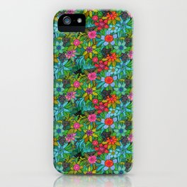 Pattern kitties and flowers iPhone Case