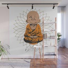 Be Happy Little Buddha on Mandala Wall Mural