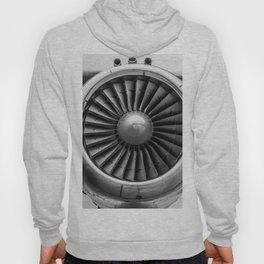 Vintage Airplane Turbine Engine Black and White Photography / black and white photographs Hoody