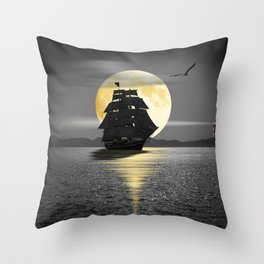 A ship with black sails Throw Pillow