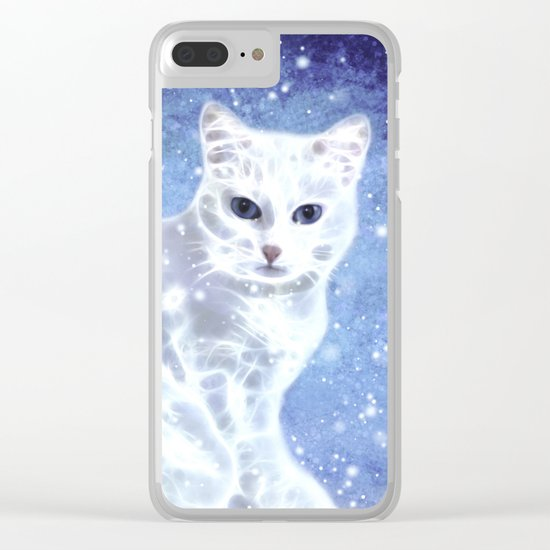 Abstract white cat Clear iPhone Case