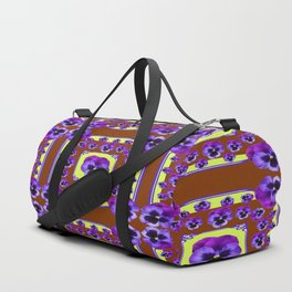 SPRING PANSY FLOWERS COFFEE BROWN GARDEN Duffle Bag