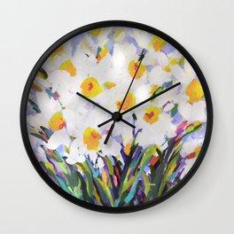 White Daffodil Meadow Wall Clock