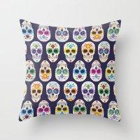 dia de los muertos Throw Pillows featuring Dia de los muertos by ewdondoxja