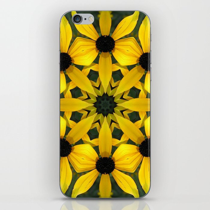 Black-eyed susan kaleidoscope, mandala iPhone Skin