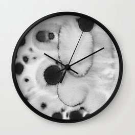 Black ink holes - in a watercolor based universe II Wall Clock