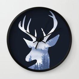 Deer Abstract Blue Landscape Design Wall Clock