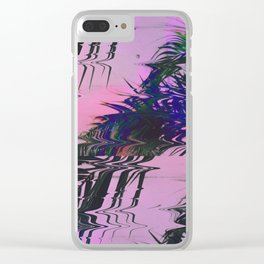 Glitchy Palm Clear iPhone Case
