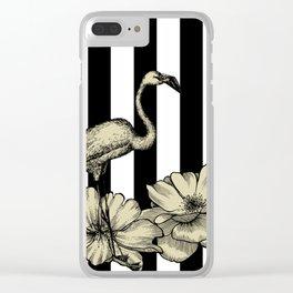 Stripe Flamingo Clear iPhone Case