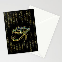 Egyptian Eye of Horus  on hieroglyphics gold and marble Stationery Cards