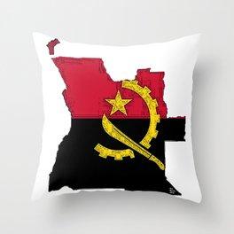 Angola Map with Angolan Flag Throw Pillow