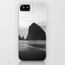 Haystack Rock in Black and White - Cannon Beach, Oregon Film Photo iPhone Case