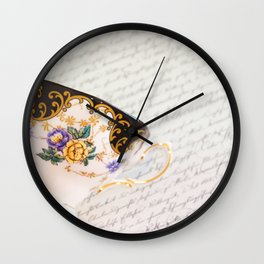Teacup Black White Wall Clock