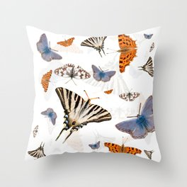 Colorful butterflies of europe Throw Pillow