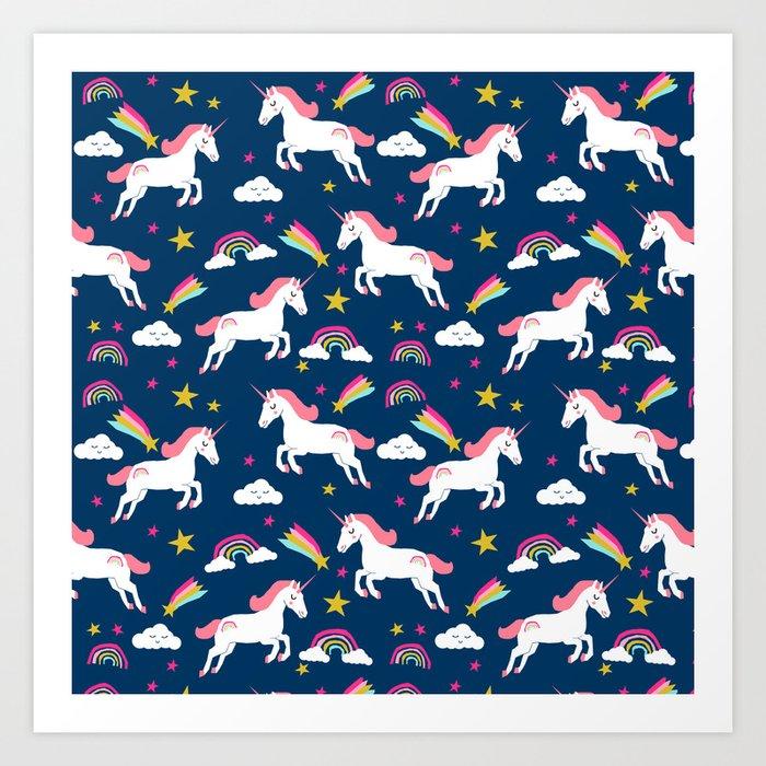 Unicorns happy clouds rainbows magical pony pattern navy pastels Art Print
