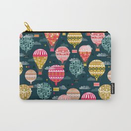 Hot Air Balloons - Retro, Vintage-inspired Print and Pattern by Andrea Lauren Carry-All Pouch