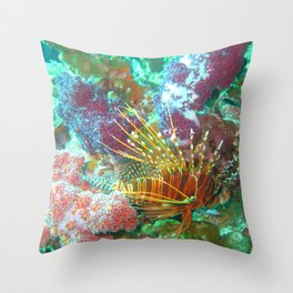 Lionfish and Corral Throw Pillow