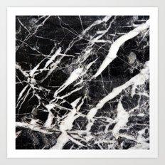 Vintage Black Marble Art Print