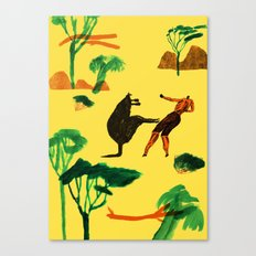 Who will win...Man or Kangaroo? Canvas Print