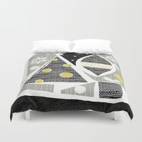 50s Duvet Covers featuring achromatic holidays by ottomanbrim
