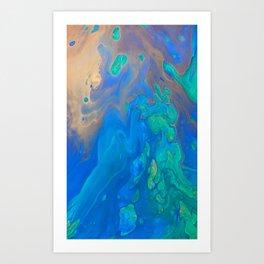 Slow Down Blue II - Bright Blue Green Fluid Painting Art Print