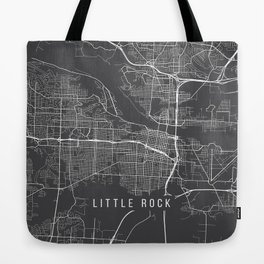 Little Rock Map, Arkansas USA - Charcoal Portrait Tote Bag