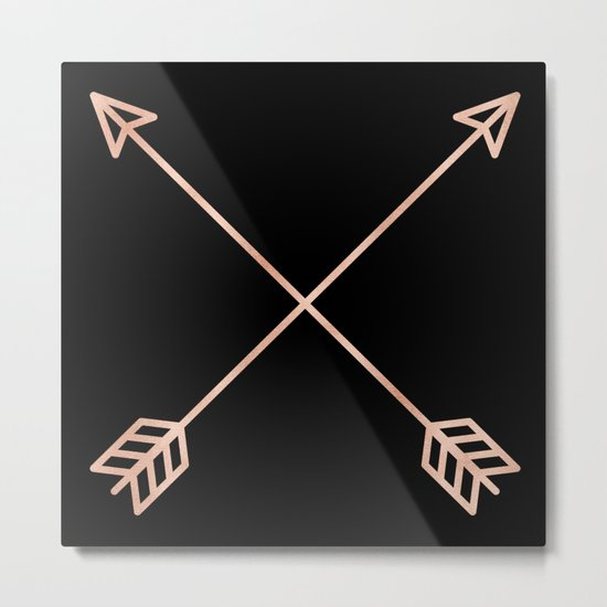 Adventure Rose Gold Arrows Metal Print