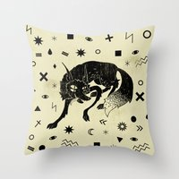 wolf Throw Pillows featuring Wolf by Anya Volk