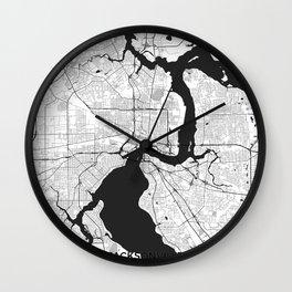 Jacksonville Map Gray Wall Clock