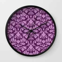 Flourish Damask Big Ptn Pink on Plum Wall Clock