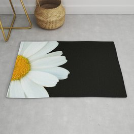 Hello Daisy - White Flower Black Background #decor #society6 #buyart Rug
