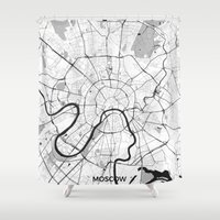moscow Shower Curtains featuring Moscow Map Gray by City Art Posters
