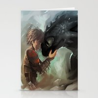 hiccup Stationery Cards featuring hiccup & toothless by AkiMao