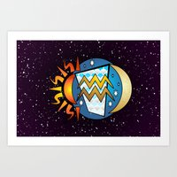 astrology Art Prints featuring Astrology, Aquarius by Karl-Heinz Lüpke