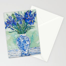 Iris Bouquet in Chinoiserie Vase on Blue and White Striped Tablecloth on Painterly Mint Green Stationery Cards