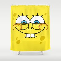 spongebob Shower Curtains featuring Spongebob Naughty Face by Cute Cute Cute