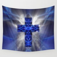 cross Wall Tapestries featuring Cross by Mr D's Abstract Adventures