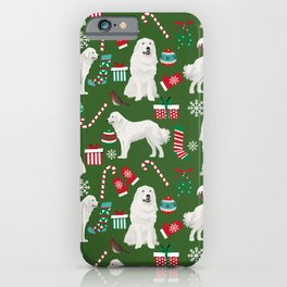 Great Pyrenees christmas festive dog gifts for the dog lover pet friendly pet portraits iPhone Case