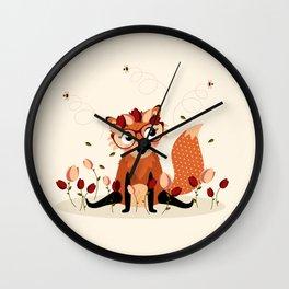 Renarde aux tulipes Wall Clock