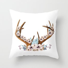 The Stag Fall Florals Throw Pillow
