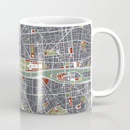 Paris city map engraving Coffee Mug